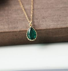 Emerald Necklace,Gold Necklace,Emerald Pendant,Layering Necklace,Delicate Gold Necklace,May Birthstone,Emerald Jewelry by lilabelledesign on Etsy