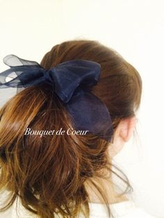 ハンドメイドヘアアクセサリー♡ フェミリンシフォンリボンゴム♡ ブラックとネイビーの2色  http://s.ameblo.jp/bouquet-de-coeur  Handmade hair accessory Feminine big ribbon! Black and navy