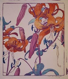 Tiger Lilies woodcut by Mabel Royds.She was unable to afford woodblocks so instead carved in to wooden cutting boards but with very professional results due to her mastery of the technique.