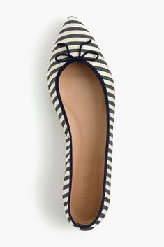 striped pointed-toe ballet flats