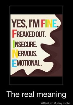 Yes I'm FINE=Freaked out, Insecure, Nervous, Emotional=my automatic response to everyone