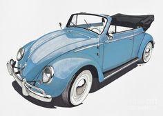VW Beetle Drawing  - Vintage Retro Volkswagen Beetle