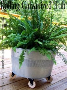 repurposed galvanized tub into planter wheels by Beatichi