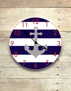 This anchor clock is made of birch plywood and measures The colors can be changed to match your room decor. This anchor clock goes well with any nautical themed room decor! Anchor Nursery, Nautical Nursery, Nautical Home, Nautical Baby, Nautical Interior, Vintage Nautical, Anchor Room, Nautical Kitchen, Navy Nursery