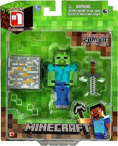 From the hit video game, Minecraft, bring home the Zombie action figure pack. Collect all Series Minecraft action figures. Minecraft Hama, Minecraft Crafts, Minecraft Party, Minecraft Wither, Minecraft Stuff, Toys For Boys, Games For Kids, Kid Games, Minecraft Action Figures