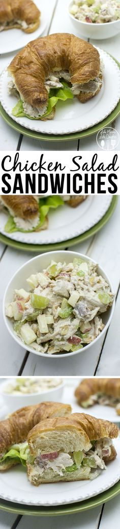 Chicken Salad Sandwich - These easy to make chicken salad sandwiches  are so simple and tasty. Makes a lot, so its perfect for quick lunches or a pot luck..