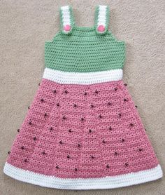 10 Watermelon #Crochet Patterns for Summer: Little Watermelon Crochet Dress Pattern