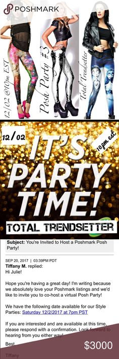 🆃🆁🅴🅽🅳🆂🅴🆃🆃🅴🆁 Party 🎉⭐️❤️ Honored and ecstatic to be hosting another fabulous Posh Party #3 Total Trendsetter 12/02/17 @10 pm est Please let me know if you're New or Never had a Host Pick! I'm happy to help Posh Compliant Poshers. Tag your PFF'S and Share. ❤️❤️PLEASE, DO NOT share items to my closet or ask for Host Picks in my listings. Thank you ❤️🇺🇸If you're interested in receiving more information about upcoming Posh N Sips please let me know 🎉💕👍 Military Discount & Bundle…