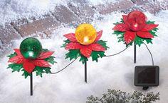 Solar Color Globes Christmas Poinsettia Garden Stakes