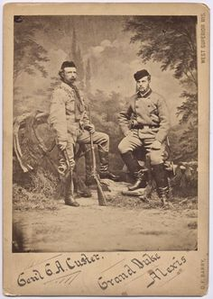 Super RARE Vintage Imperial Albumen Custer & Grand Duke Alexis 1872 Buffalo Hunt