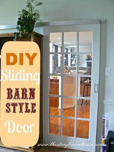 The Stonybrook House: DIY Sliding {Barn Style} Door for living room to tv room Diy Sliding Barn Door, Diy Barn Door, Barn Door Hardware, Sliding Doors, Interior Barn Doors, Interior Exterior, Garage Interior, Interior Ideas, Barn Style Doors