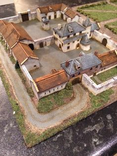 A scale model of Hougoumont farm. The north gate is at the top of the photo. The south gate is at the bottom. The French broke thr… in 2019 Fantasy City, Fantasy Castle, Ancient Architecture, Architecture Design, Fachada Colonial, Château Fort, Minecraft Houses, Minecraft Creations, Wargaming Terrain