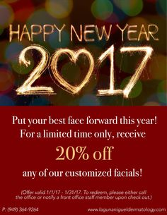 Happy New Year from all of us at Alta Dermatology! Take advantage of this great deal and start the new year off feeling your best. To see our available facials, visit our website at www.lagunanigueldermatology.com #facials #promo #discount #lagunaniguel #dermatology #esthetician #esthetics #beauty #skincare #newyear #newyou #orangecounty #missionviejo #laderaranch #alisoviejo #danapoint #lagunawoods #cotodecaza #california #lagunahills #sanclemente