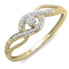 0.15 Carat (ctw) 10k Yellow Gold Round Cut Diamond Ladies Engagement Bridal Promise Ring (Size 8.5)