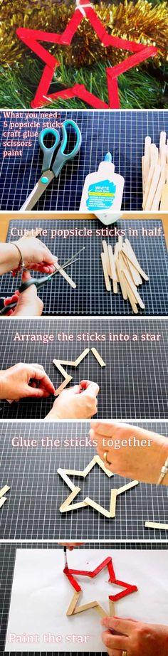 Stick Star | 16 DIY Christmas Popsicle Sticks Crafts for Kids