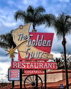 The Golden Spur ~ Route 66 in Glendora Old Route 66, Route 66 Road Trip, Historic Route 66, Old Neon Signs, Vintage Neon Signs, Old Signs, Retro Signage, Roadside Attractions, Googie