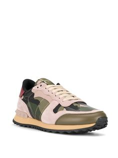 Valentino Valentino garavani rockstud camouflage sneakers in Green Valentino Sneakers, Fashion Labels, Valentino Garavani, Pink And Green, Camouflage, High Top Sneakers, Leather, Shopping, Shoes