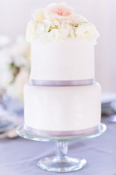 white and purple elopement cake