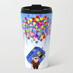 Cute Old 10th doctor who with flaying tardis METAL TRAVEL MUG #metaltravelmug #metal #mug #drawing #digital #inkpen #coloredpencil #popart #comic #illustration #up #tardisdoctorwho #tardis #doctorwho #doctorwho #baloons #davidtennant #phonebooth #phonebox #sciencefictions