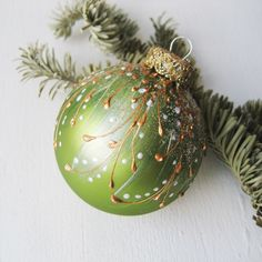 Faberge Inspired Christmas Ornament - Peridot Green    Christmas ornament, Christmas tree ball, glass bauble, glass ornaments, hand painted by SilverOwlStudio on Etsy https://www.etsy.com/listing/169268681/faberge-inspired-christmas-ornament