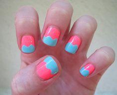 Scrapbook Scissor Nails: Mani Monday | Birchbox colors, nail arts, nail tutorials, pink, neon nails, nail ideas, scrapbook, design, blues