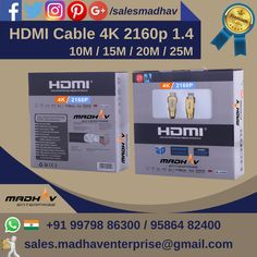 #HDMICables #4K #2160p 1.4 available in 10M, 15M, 20M, 25M at #Madhaventerprise #Surat #South #Gujarat #India   #HDMI4K #HDMI4Kcable #wholesaler #Supplier