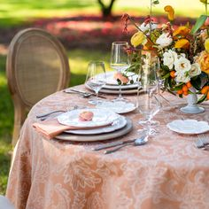 Our Persimmon Courtyard Table Linen brings a light hue to this shoot. Designer: Madcap Cottage Photography: Theo Milo Photography Floral: Out Of The Garden Rentals: Ohh! Events