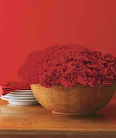 LOVE this with the rustic wooden salad bowl! Lush Carnation Display Two humble elements―a wooden salad bowl and carnations―add up to something special. Cut the stems to three or four inches, arrange in a glass dish, and place in the bowl. Carnation Centerpieces, Simple Centerpieces, Centerpiece Ideas, Table Arrangements, Floral Arrangements, Red Bowl, White Bowl, Red Carnation, Pink Carnations