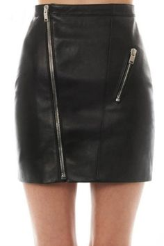 Black Leather Look Mini Skirt With Front Zipper