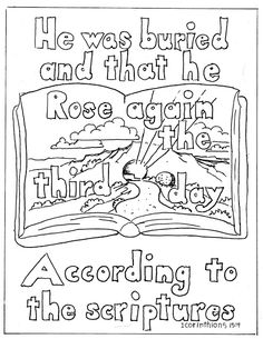 Coloring Pages for Kids by Mr. Adron: 1 Corinithians 15:4 coloring Page. Christ Rose Again