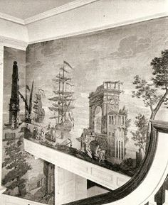 divine grisalle wallpaper at Moffatt Ladd House, Portsmouth NH - Views of Italy and Bay of Naples, Dufour new editions available from Holly Alderman and Wallquest Scenic Wallpaper, Antique Wallpaper, Photo Wallpaper, Wall Wallpaper, Grisaille, Passementerie, Decorative Panels, British Colonial, Historic Homes