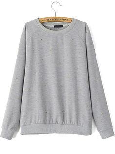 Grey Round Neck Bead Loose Sweatshirt-Romwe