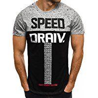 OZONEE Herren T-Shirt mit Motiv Kurzarm Rundhals Figurbetont J.STYLE SS012