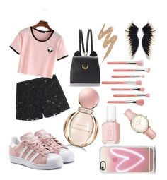 """""""Black and pink !"""" by baranovaji ❤ liked on Polyvore featuring Bdellium Tools, Urban Decay, Casetify, Topshop, Valentino, adidas Originals, WithChic and Bulgari"""