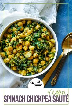A quick and easy, vegetarian side of sauteed Spinach and canned Chickpeas with some smashed fresh coconut and spices. It is a great side with rice or rotis but can also be eaten as a snack or salad, in itself and gets done in under 15 mins. #vegan #vegetarian #indianfood #chickpea #spinach #vegetarianside #veganside #Thanksgivingsidedishes #sidedishes #under15mins #under30mins #quickandeasy #healthyrecipe Vegan Entree Recipes, Chickpea Recipes, Lentil Recipes, Best Dinner Recipes, Curry Recipes, Beef Recipes, Healthy Recipes, Healthy Food, Eating Healthy