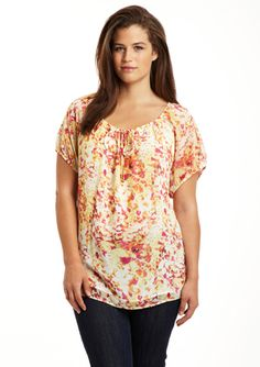CALVIN KLEIN Plus Short Sleeve Floral Blouse