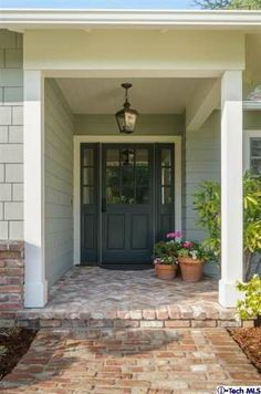 used brick -Castle Rd- Front Porch redone Door Ideas, Porch Ideas, House Front, Front Porch, Interior Design Work, Courtyards, Exterior Colors, Hallways, My Dream Home