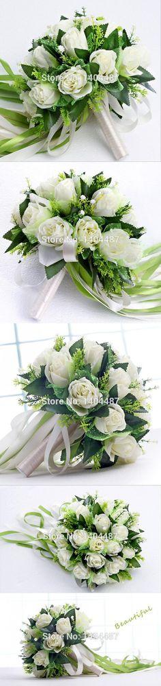White Gardenia Rose Artificial Vintage Wedding Bouquets Brooch Bouquets Wedding Bridal Flower Bouquets Ramos De Novia 2016