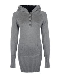 SUPER PLAIN grey long length knitted jumper dress with front pocket, fleece lined hood and thumb holes in sleeves. #Bench #Autumn #Winter #Fashion & #Style