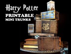 HARRY POTTER PRINTABLE LUGGAGE Unpack the MAGIC with these Harry Potter-inspired printable Hogwarts mini luggage, trunks & suitcases! Simply print & assemble them using scissors & tape or glue! The Hogwarts Crest suitcase is actually a REAL BOX you can use to store candy, party favors or other treasures and measures approx. 4.5 x 3 x 1 inches. Other pieces vary in size. When stacked as shown in first photo, entire piece measures approx. 9 inches tall. Makes a striking centerpiece for your…