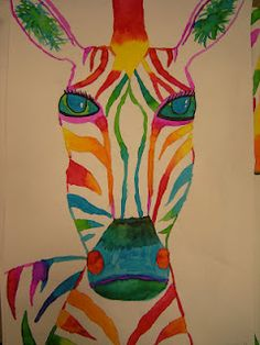 5th zebras several examples here but original source is: http://elementaryartfun.blogspot.com/2011/11/zebras-tigers-and-giraffes-oh-my.html