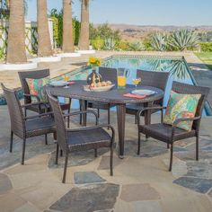 Outdoor Dining Set, Patio Dining, Outdoor Furniture Sets, Outdoor Decor, Wicker Dining Chairs, Wicker Sofa, Stackable Chairs, A Table, Christopher Knight