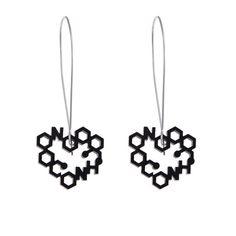 Laser Cut Love Chemistry long Drop Earrings by ZeldaWong on Etsy