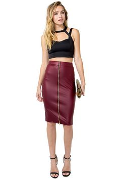 A beyond-sexy bodycon pencil skirt featuring a coated allover liquid scuba body and full zip closure in the front. Finished mid-length hem. $19.90