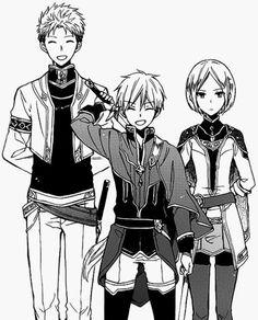 Anime/Manga: Akagami no Shirayukihime/Snow white with the red hair- Zen Wistalia, Kiki Seiran y Mitsuhide Lowen