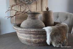 Oude ronde houten bak 58 cm