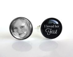 Custom Photo Father of the Bride Cufflinks - I loved her first Cuff Links Silver Plated Gifts for Dad - Wedding Cufflinks - Fathers Day