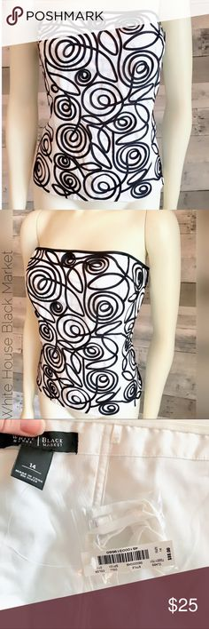 NWT-WHBM corset bustier top black white lined Hello Fabulous!  NWT bustier top has embellished black ribbon that's dimensional on top of white field.   Lined Back zip Straps included  🚫 Trades 🚫 Modeling   Thanks for checking out this item! 😊 Be sure to add other items from my Closet to your Bundle before you Checkout for 15% discount off your order! White House Black Market Tops