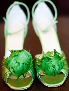 Green wedding shoes.