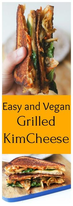 Grilled KimCheese - Two City Vegans A delicious, easy recipe that fuses Kimchi and Grilled Cheese for a fusion recipe that will blow your mind, and it's ready in 20 minutes or less! http://www.twocityvegans.com/2017/07/grilled-kimcheese/